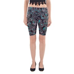 Gray and blue abstract art Yoga Cropped Leggings