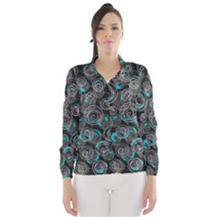 Gray and blue abstract art Wind Breaker (Women)