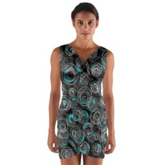 Gray and blue abstract art Wrap Front Bodycon Dress