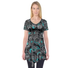 Gray and blue abstract art Short Sleeve Tunic