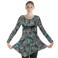 Gray and blue abstract art Long Sleeve Tunic
