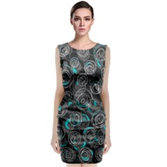 Gray and blue abstract art Classic Sleeveless Midi Dress