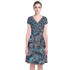 Gray and blue abstract art Short Sleeve Front Wrap Dress
