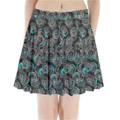 Gray and blue abstract art Pleated Mini Skirt