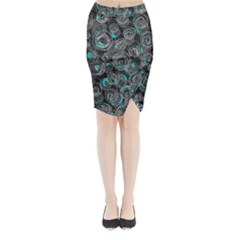 Gray And Blue Abstract Art Midi Wrap Pencil Skirt