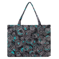 Gray And Blue Abstract Art Medium Zipper Tote Bag