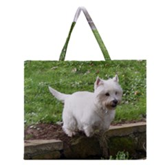 Westie Jumping Zipper Large Tote Bag