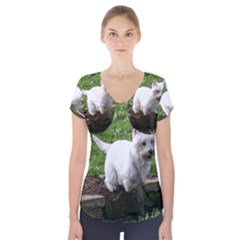 Westie Jumping Short Sleeve Front Detail Top