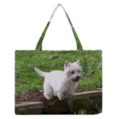 Westie Jumping Medium Zipper Tote Bag