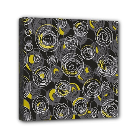 Gray and yellow abstract art Mini Canvas 6  x 6