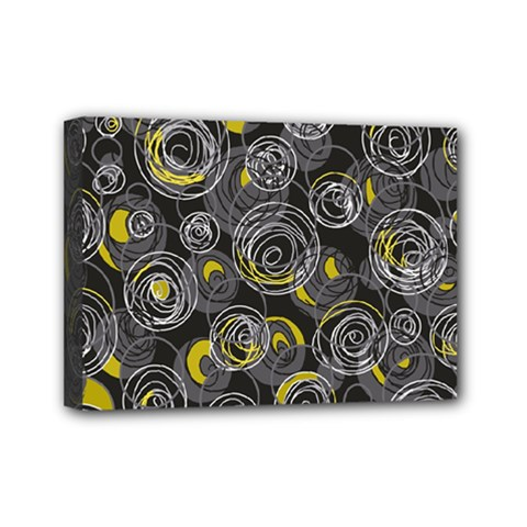 Gray and yellow abstract art Mini Canvas 7  x 5