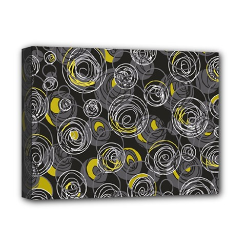 Gray and yellow abstract art Deluxe Canvas 16  x 12
