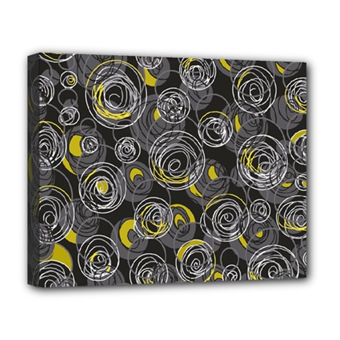 Gray and yellow abstract art Deluxe Canvas 20  x 16