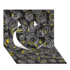 Gray and yellow abstract art Heart 3D Greeting Card (7x5)