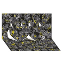 Gray and yellow abstract art Twin Hearts 3D Greeting Card (8x4)