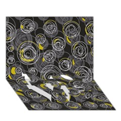 Gray and yellow abstract art LOVE Bottom 3D Greeting Card (7x5)