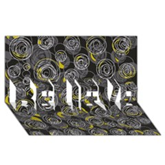 Gray and yellow abstract art BELIEVE 3D Greeting Card (8x4)