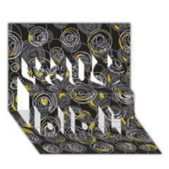 Gray and yellow abstract art You Did It 3D Greeting Card (7x5)