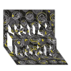 Gray and yellow abstract art You Rock 3D Greeting Card (7x5)