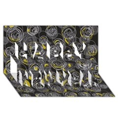 Gray and yellow abstract art Happy New Year 3D Greeting Card (8x4)