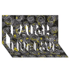 Gray and yellow abstract art Laugh Live Love 3D Greeting Card (8x4)