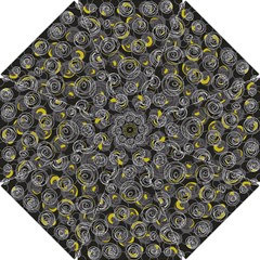 Gray and yellow abstract art Hook Handle Umbrellas (Small)