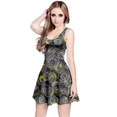Gray and yellow abstract art Reversible Sleeveless Dress