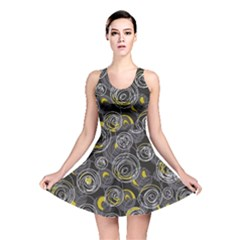 Gray And Yellow Abstract Art Reversible Skater Dress