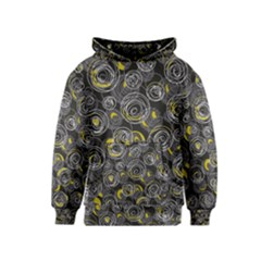 Gray and yellow abstract art Kids  Pullover Hoodie