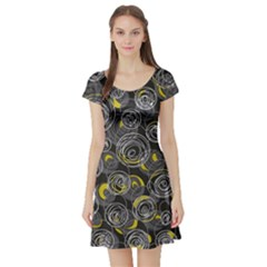 Gray and yellow abstract art Short Sleeve Skater Dress
