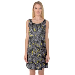Gray And Yellow Abstract Art Sleeveless Satin Nightdress