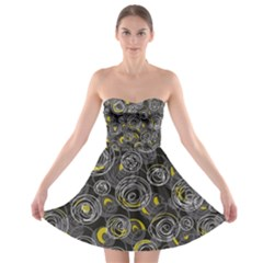 Gray and yellow abstract art Strapless Bra Top Dress