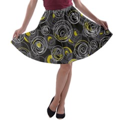 Gray and yellow abstract art A-line Skater Skirt