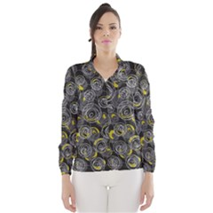 Gray and yellow abstract art Wind Breaker (Women)