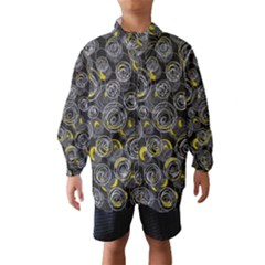 Gray and yellow abstract art Wind Breaker (Kids)