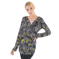 Gray and yellow abstract art Women s Tie Up Tee