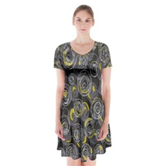 Gray and yellow abstract art Short Sleeve V-neck Flare Dress