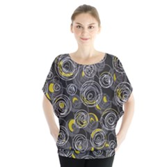 Gray and yellow abstract art Blouse