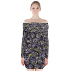 Gray and yellow abstract art Long Sleeve Off Shoulder Dress
