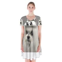 Maltese Short Sleeve V Neck Flare Dress