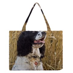English Springer Spaniel In Wheat Medium Zipper Tote Bag