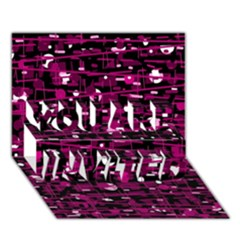 Magenta abstract art YOU ARE INVITED 3D Greeting Card (7x5)
