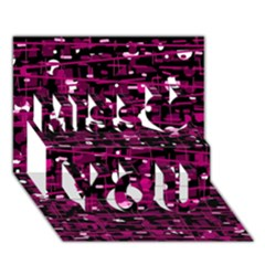 Magenta abstract art Miss You 3D Greeting Card (7x5)