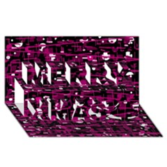 Magenta abstract art Merry Xmas 3D Greeting Card (8x4)
