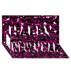 Magenta abstract art Happy New Year 3D Greeting Card (8x4)