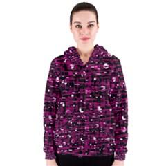 Magenta abstract art Women s Zipper Hoodie