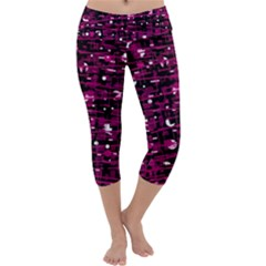 Magenta Abstract Art Capri Yoga Leggings