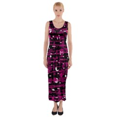 Magenta abstract art Fitted Maxi Dress
