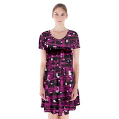 Magenta abstract art Short Sleeve V-neck Flare Dress
