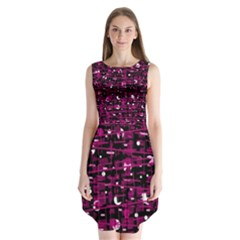 Magenta abstract art Sleeveless Chiffon Dress